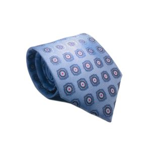 Μεταξωτή γραβάτα γαλάζια με βούλες OT959