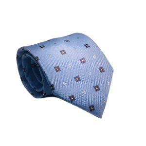 Μεταξωτή γραβάτα γαλάζια με βούλες OT960